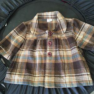 ROXY mini waist pea coat brown plaid